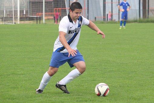 Football, Puppy, Match, Action, Kick, Ball