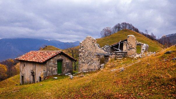 Landscape, Mountains, Ruin, Autumn, Mood
