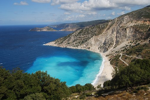 Country, Travel, Greece, Kephalonia, Myrtos Beach