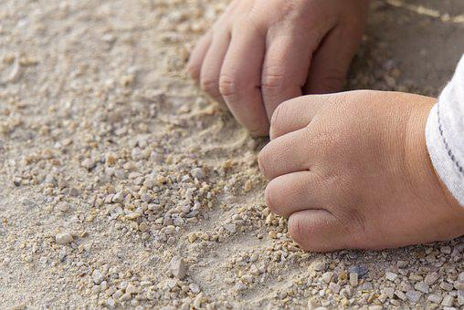 Hand, Child, Play, Sand, Pebble, Child's Hand