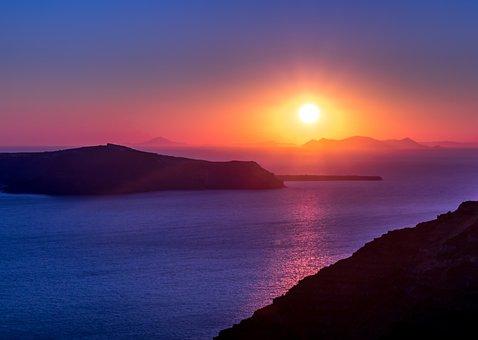 Santorini, West, Greece, Sea, Summer, Island