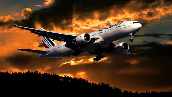 Sunset, Aircraft, Travel, Sky, Orange, Twilight