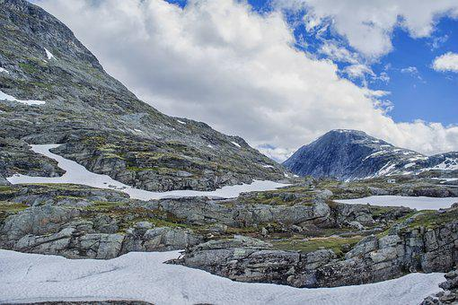 Snow, Mountain, Clouds, Norway