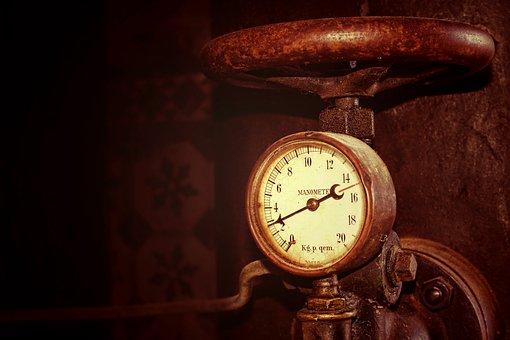 Pressure, Pressure Gauge, Old, Steel, Rust, Clock