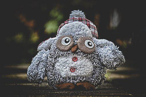 Owl, Stuffed Animal, Cap, Winter, Teddy Bear, Toys