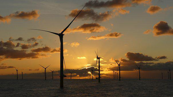 Wind Energy, Windräder, Wind Turbine, North Sea, Clouds