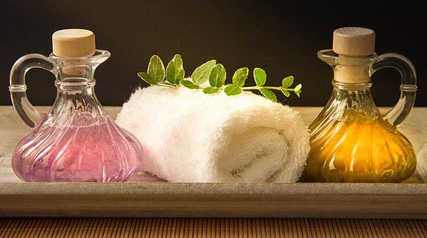 Wellness, Carafe, Purple, Yellow, Towel, Rolled, Herbs