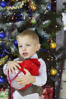 New Year's Eve, Christmas Tree, Baby, Postcard