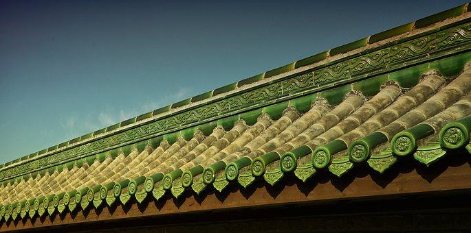 Beijing, Temple Of Heaven, Wall, Roof, Oblique, Temple