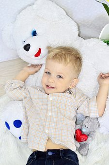 Boy, Bear, Toy, Baby, Happiness, Childhood, Boys, Cute