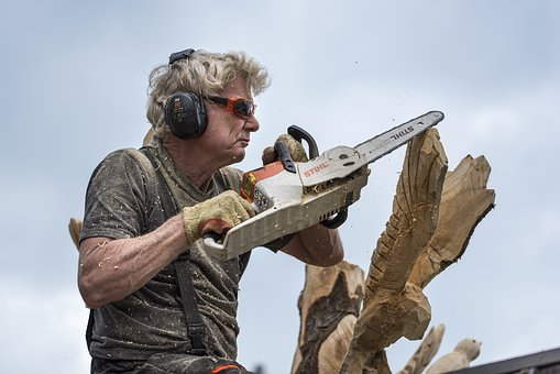 Wood Carver, Tree, Chainsaw