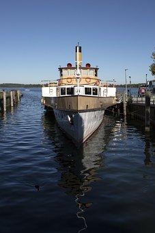 Steamer, Ship, Anchor, Boat, Water, Lake, Chiemsee