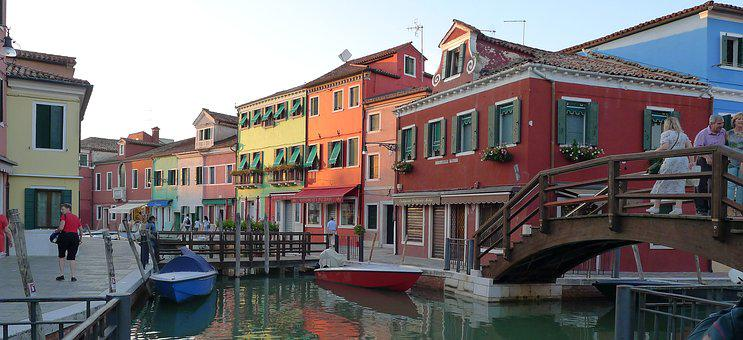 Burano, Venice, Italy, Colorful, Houses, Water