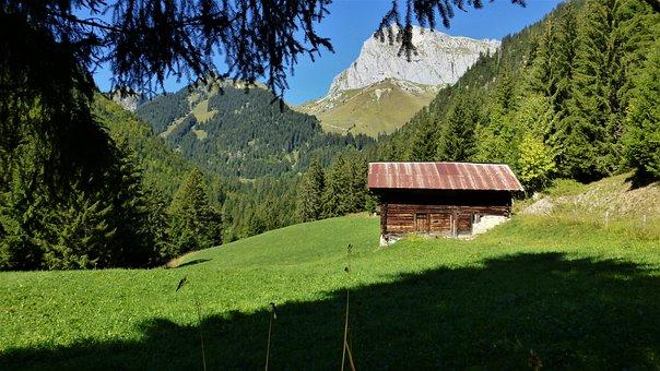 Nature, Meadow, Grange, Landscape, Mountains, Farm