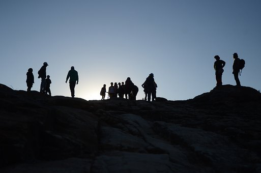 Silhouette, Group, People, Human, Skyline, Travel