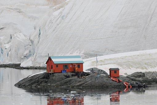 Hut, Antarctica, Observation, Glacier, Island