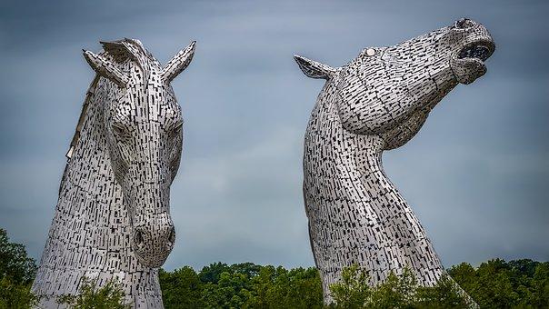 Kelpies, Sculpture, Scotland, Horses, Falkirk