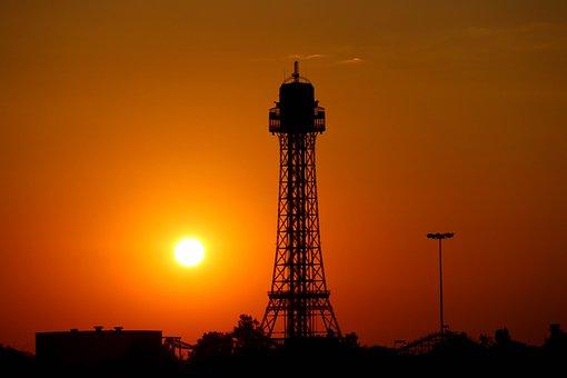 Eiffel, Tower Replica, Kings, Island, Sun, Brown Island