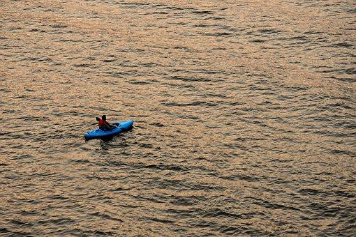 Kayak, Sunset, Water, Nature, Summer, Lake, Outdoor