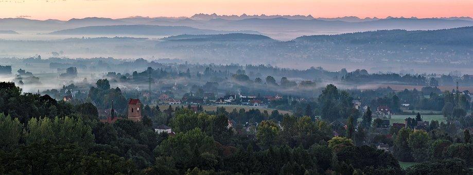 Panorama, Landscape, View, Morning, Fog, Morning Fog