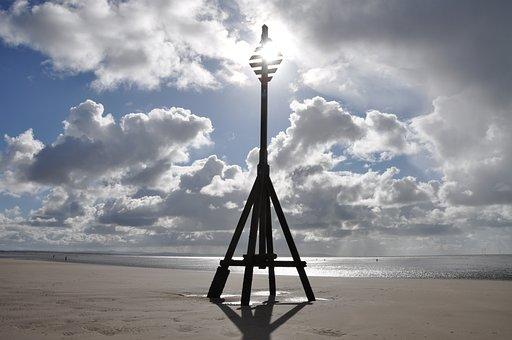 Crosby, Beach, Clouds, Sky, Liverpool, Merseyside