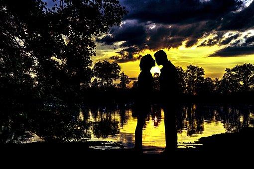 Sunset, Sunrise, Couple, Romance, Silhouette, Love