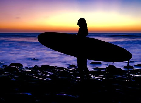 Surfer, Surf, Sunset, Silhouette, Sea, Wave, Ocean