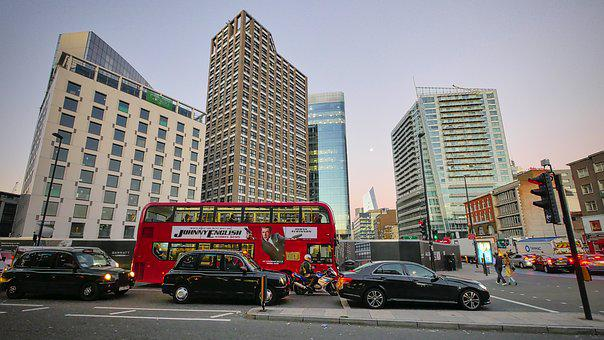 Bus, London, England, Red, Traffic, City