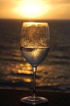 Wine, Wine Glass, Sunset, Beach, Ocean, Relax, Object