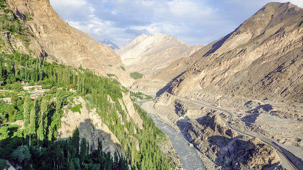 Hunza, River, Kkh, Road, Valley, Mountains, Range, Gb