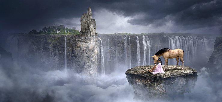 Fantasy, Waterfall, Rock, Horse, Girl, Clouds, Ruin