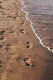 Sea, Beach, Sand, Tracks, Egypt, Red Sea