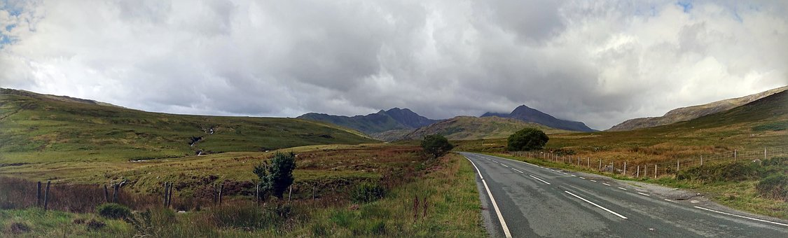 Country Road, Wales, Panorama, Countryside, Scenery