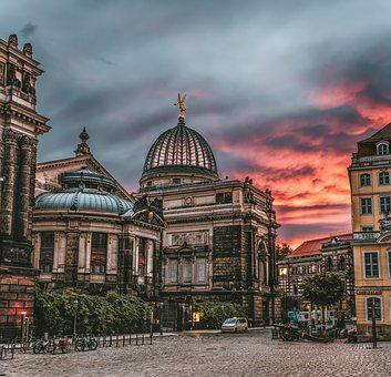Dresden, Sunrise, Historic Center, Sky, Landscape