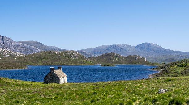 Hole Stack, Hut, Lake, Landscape, Sky, Blue, Mood, Rest