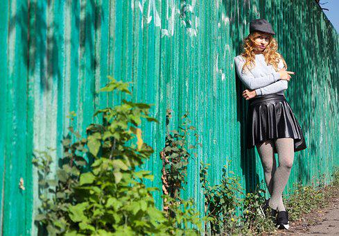 Fence, Style, Leather Skirt, Cap, Wall, Wooden, Old