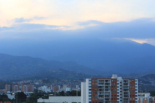 City, Cali, Colombia, Buildings, Sky, Sunset, Landscape