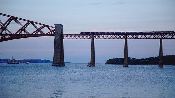 Bridge, Train, Sea, Railway, Travel, Twilight, Scotland