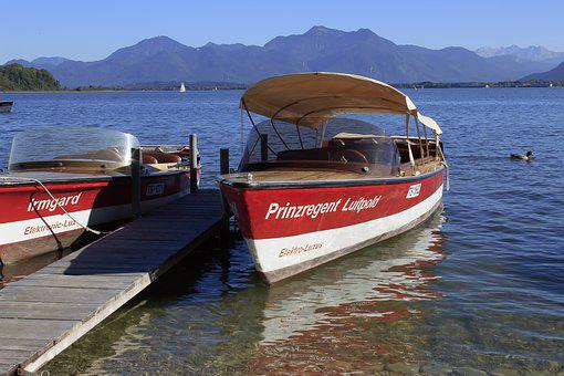 Electric Boat, Boat, Pier, Water, Lake, Chiemsee, Alps