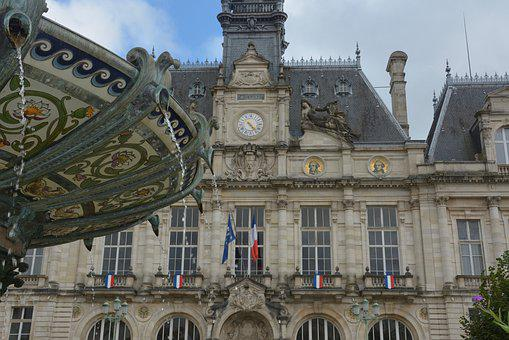 Fountain, Porcelain, Town Hall, Water, Limoges