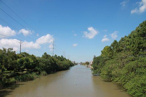 Blue Sky, White Cloud, Jiangnan, River, Green