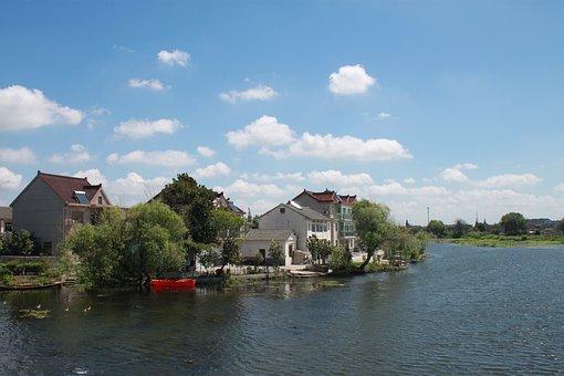 Jiangnan, The Scenery, Blue Sky, White Cloud, River