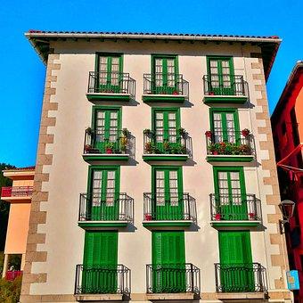 Balconies, House, Facade, Windows, Green