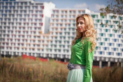 Skirt, Blouse, City, Woman, Model, Women, Fashion