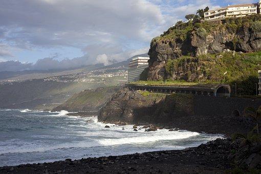Tenerife, Puerto De La Cruz, Beach, Europe, Island, Sea