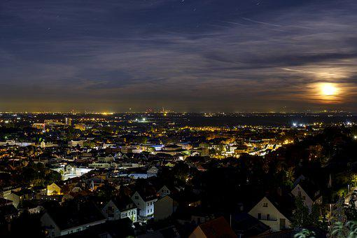 City, Building, Lights, Night, Twilight, Sky, Moon
