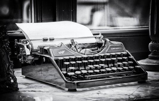 Typewriter, Write, Tap, Keys, Paper, Clamping, Type