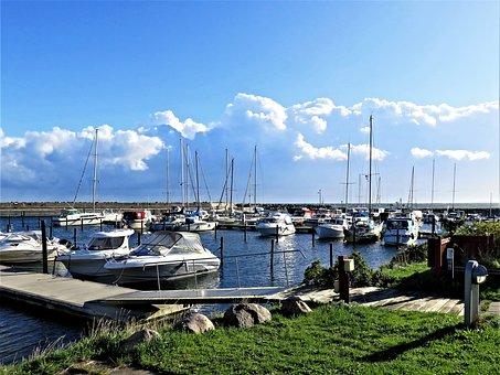 Baltic Sea, Port, Denmark, Small Boat Harbor, Boats