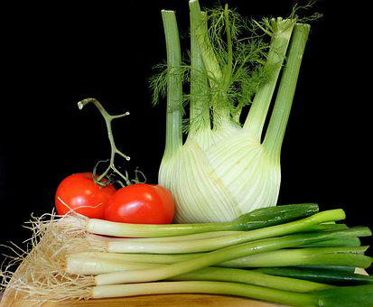 Vegetables, Fennel, Tomatoes, Spring Onions, Food