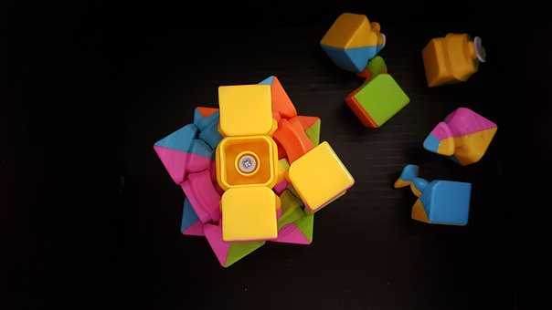 Game, Toy, Colorful, Black, Cube, Broken, Parts, Pieces